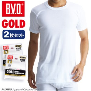 6Lサイズ BVD  2枚セット 丸首半袖Tシャツ GOLD アンダーウェア/綿100%/インナー|bvd