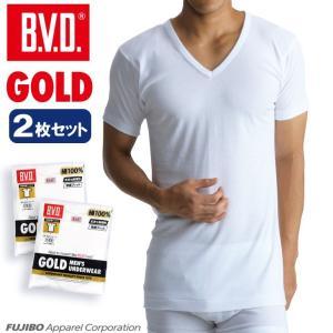 2枚セット BVD V首半袖シャツ スッキリタイプ GOLD アンダーウェア/メンズ/Vネック/綿100%|bvd