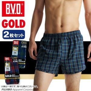 パンツ セット BVD 柄トランクス  2枚セット GOLD/LL/B.V.D./ステテコメンズインナー/綿100%