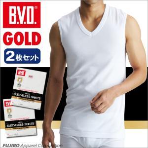 BVD  2枚セット Vネックスリーブレス GOLD/LL/B.V.D./メンズインナー/綿100%