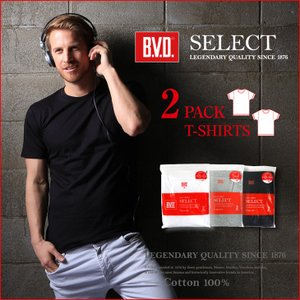 2PACK BVD SELECT クルーネック半袖Tシャツ 2枚組セット/BVD/メンズ bvd