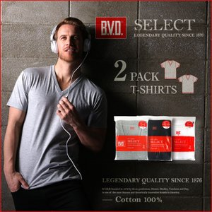 2pack Vネック半袖Tシャツ BVD SELECT 2枚組セット /BVD/メンズ/アンダーウェア bvd