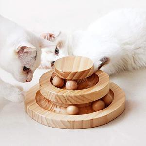 Aritan 猫のおもちゃ ペット用品 遊ぶ盤 ペット 回転 ボール 猫じゃらし おもちゃ 運動不足 ストレス解消 知育玩具 安全素材 木製 ナチュラ c-o-s-shop