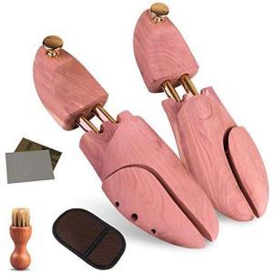Wellnice シューキーパー シューツリー レッドシダー 24.5-29cm対応 ブラシ・ムートン靴磨きクロス・サンドペーパー付 レッドシダー 繋 c-o-s-shop
