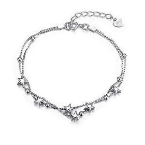 ブレスレット S990 シルバー 星のモチーフ スター レディース 純銀 クリスマス サイズ調節可 プレゼント|c-o-s-shop