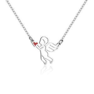 キューピッドとハート ネックレス かわいいキューピッド天使のペンダント ステンレス鋼のネックレス 長鎖ジュエリーの恋人友情バレンタインデーのギフト 鎖|c-o-s-shop