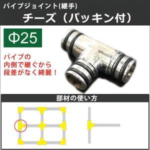 丸パイプ用 ジョイント 継手 パッキン付 チーズ 25mm|c-ranger
