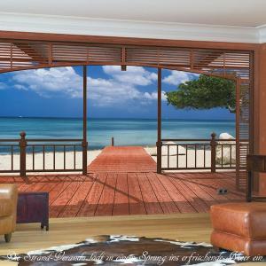 だまし絵 輸入壁紙 クロス 青い海と白い砂浜風景写真 ドイツ製/8-101 El Paradiso 楽園 388cm×270cm 北欧|c-ranger