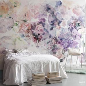 壁紙 おしゃれ 輸入壁紙  のり付き クロス 紙 内装 撮影 ドイツ製 花柄 ヨーロピアン 水彩 紫 パープル 牡丹 [ウィッシュ] XXL4-060|c-ranger