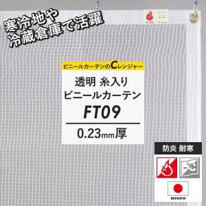 ビニールカーテン FT09 サイズオーダー 防炎 難燃 半透明 0.23ミリ厚 [幅101〜200cm 丈351〜400cm]|c-ranger
