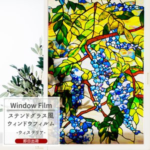 ステンドグラス風ガラスフィルム おしゃれ ウィステリア 北欧 カフェ|c-ranger