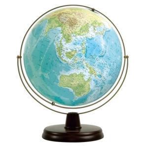 衛星地形地球儀 WP 球径32cm 地勢 木製台|c-task