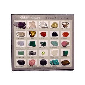 ジェムストーン 宝石鉱物 25種 解説付き 12.5×11×H3cm|c-task