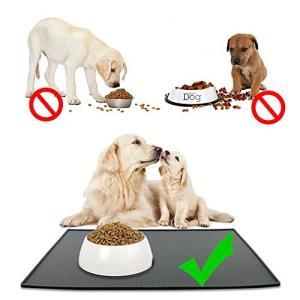MKUTO ペット 猫 犬 マット 食事マット トレー シリコン製 食器 皿 給水器 滑り止め 溢れ止め 撥水 防汚 丸洗い(48x 30cm,グレー|cacaoshop