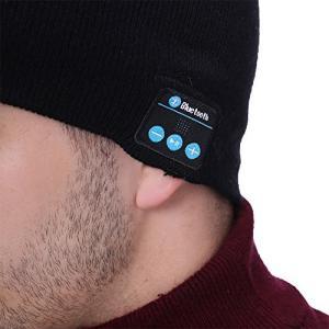 ZIAN ワイヤレスイヤホン内蔵帽子 ハンズフリー通話ニット帽子 Bluetooth ヘッドホン 帽子 スキーやスポーツに大活躍 (ブラック)|cacaoshop