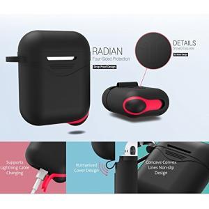 Newseego AirPodsケース 2018最新 改善版 収納カバー シリコン 充電ケース エアポッド耳フック/時計ストラップホルダー/デザインス|cacaoshop
