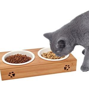ペット食器 猫 小型犬 ボウル 天然竹製スタンド 陶器 食べやすい (ホワイト)|cacaoshop