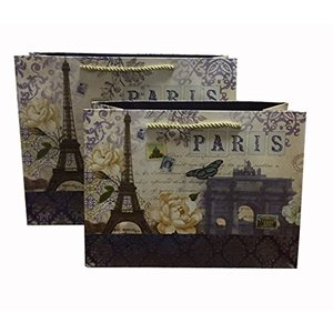 minimumkobe ギフトバッグ プレゼント用 紙袋 ロマンチック 花柄 メッセージカード付 5枚セット (paris横、 L) cacaoshop