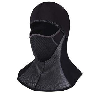 バラクラバ 目出し帽 フェイスマスク バイク スキー サイクリング 厚 冬用 防寒 防水 黒 (黒(ファスナー付き)) cacaoshop