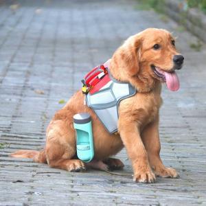 ペット給水器 携帯用水飲み ウォーターボトル犬用 携帯水筒、トリーツポーチ 水漏れ防止