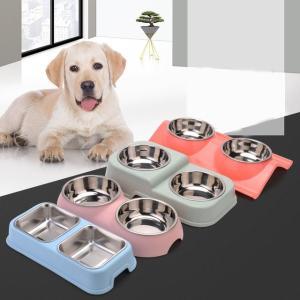 犬 猫 ペット用 傾斜 フードボウル 食器台 スタンド ステンレス ボウル付き ダブルボウル 2個セット 餌入れ 水入れ 洗える