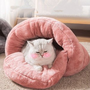 ペットベッド 犬 猫 ふわふわ 暖か ペットハウス 猫ベッド ペット用品 ネコ キャット ベッド 寝袋 室内用 おしゃれ もぐりこみ 猫用ベッド北欧 秋 冬