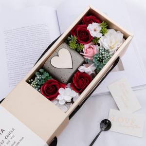 ソープフラワー ボックス ギフト 造花 母の日 誕生日 プレゼント 結婚祝い 披露宴 フラワーボックス 石けん付き 石鹸花 枯れない花|cactus0812