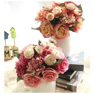 造花 インテリア ローズバンチ お洒落 雑貨 ナチュラル 飾り 部屋装飾 花束 ブーケ フェイクグリーン プレゼント ギフト|cactus0812