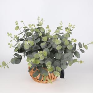 人工観葉植物 2本セット フェイクグリーン 造花 ユーカリの葉 リース 本物そっくり 葉 ユーカリ デコ素材 ブーケ アレンジ|cactus0812