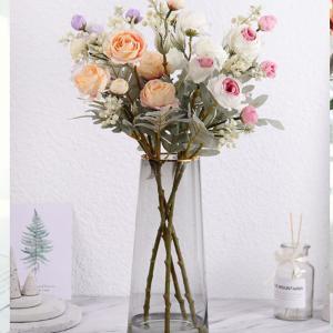 造花 インテリア ローズバンチ 1束 お洒落 雑貨 ナチュラル 飾り 部屋装飾 花束 ブーケ フェイクグリーン プレゼント ギフト|cactus0812