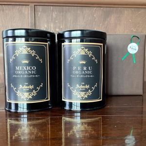 コーヒー豆 敬老の日 ギフト 厳選オーガニックコーヒー詰め合わせ 缶入り 200g(20杯)2缶 cafe-adachi