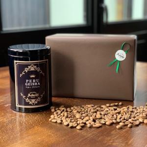 コーヒー豆 送料無料 敬老の日 ギフト ペルー・ゲイシャ 高級缶入り 100g(10杯) cafe-adachi
