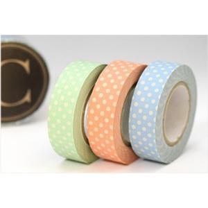 (ポストお届け選択OK) マスキングテープ 水玉ライト 3色セット  C No.45012-03|cafe-de-savon