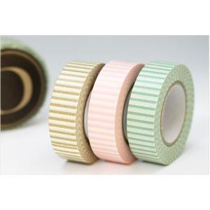 (ポストお届け選択OK) マスキングテープ ストライプ 3色セット D No.45012-04|cafe-de-savon