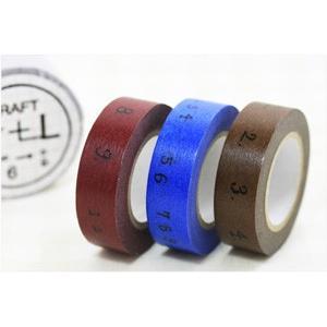 (ポストお届け選択OK) マスキングテープ 数字(CRAFT Log) 3色セット|cafe-de-savon