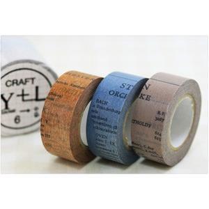 (ポストお届け選択OK) マスキングテープ オールドブック 20mm(CRAFT Log) 3色セット|cafe-de-savon