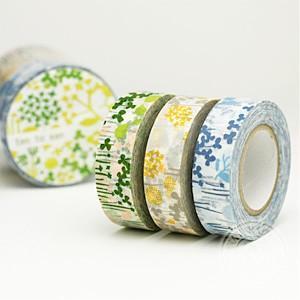 (ポストお届け選択OK) マスキングテープ  リトルガーデン 3色セット|cafe-de-savon