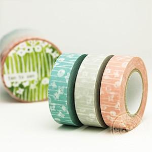 (ポストお届け選択OK) マスキングテープ 小さな花 3色セット|cafe-de-savon