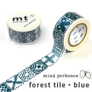 マスキングテープ mt mina perhonen forest tile・ blue(フォレストタイル ブルー)|cafe-de-savon