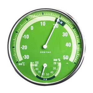 アナログ温湿度計 グリーン DRETEC(ドリテック) (手作り石鹸 温度計 湿度計) cafe-de-savon