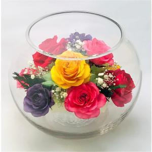 ブリザードフラワー ピュアフラワー(バラ:ミックス(大):ガラスドーム) 誕生日 記念日 卒業祝い 退職祝い 高級 ギフト プレミアム p-10r-m|cafe-enishida