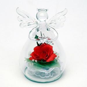 プリザーブドフラワー ピュアフラワー(バラ:ガラスケース 天使型タイプ) 誕生日 記念日 母の日 ギフト プレゼント|cafe-enishida
