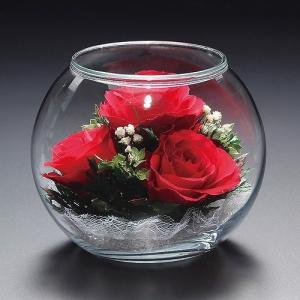 プリザードフラワー ピュアフラワー(バラ:赤:ガラスドーム) 誕生日 記念日 母の日 ギフト プレゼント|cafe-enishida