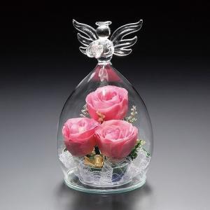 プリザーブドフラワー ピュアフラワー(バラ(ピンク):天使型(大))誕生日 記念日 母の日 ギフト プレゼント 高級|cafe-enishida