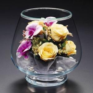 プリザードフラワー ピュアフラワー(黄バラ:紫ラン:7R-Y ガラスドーム) お祝い 誕生日 記念日 見舞い ギフト 高級