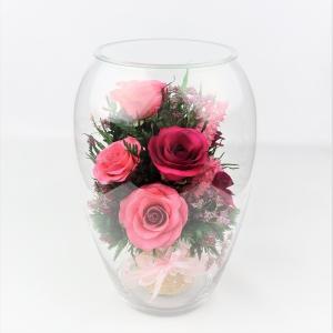 プリザードフラワー ピュアフラワー(バラ:赤・ピンク)P-JVL-6) ボトルフラワー 誕生日 記念日 退職祝い 母の日 開店祝い 開業祝い 高級 ギフト ガラスドーム|cafe-enishida
