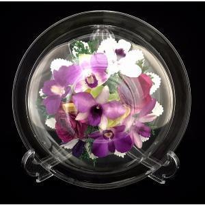 プリザードフラワー ピュアフラワー(ラン)p-mo-18) ボトルフラワー 誕生日 記念日 卒業祝い 退職祝い 母の日 高級 ギフト ガラスドーム|cafe-enishida