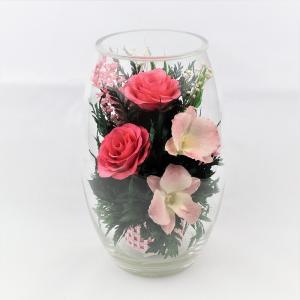 プリザードフラワー ピュアフラワー(バラ・ラン:ピンク) p-rb-3) ボトルフラワー 誕生日 記念日 退職祝い 就職祝い 母の日 高級 ギフト ガラスドーム|cafe-enishida