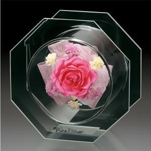 プリザードフラワー ピュアフラワー(バラ:ピンク) p-sse-3(S)) ボトルフラワー 誕生日 記念日 母の日 高級 ギフト|cafe-enishida