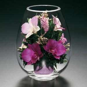 プリザードフラワー ピュアフラワー(ラン:紫) p-sv-8) ボトルフラワー 誕生日 記念日 母の日 敬老の日 高級 ギフト ガラスドーム|cafe-enishida